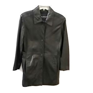 Womens Button Down Black Leather Dress Jacket